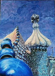 "Cuadro al óleo""Buscando a Gaudí"""