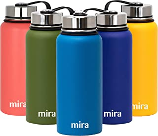 MIRA 32 Oz Stainless Steel Vacuum Insulated Wide Mouth Water Bottle | Thermos Keeps Cold for 24 hours, Hot for 12 hours | Double Wall Powder Coated Travel Flask | Hawaiian Blue