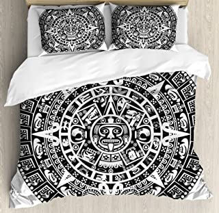 Lunarable Aztec Duvet Cover Set, Mayan Calendar End of The World Prophecy Mystery Cool Culture Design Print, Decorative 3 Piece Bedding Set with 2 Pillow Shams, Queen Size, White and Black