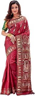 SareesofBengal Women's Katan Silk Meenakari Baluchari/Swarnachari Saree Maroon
