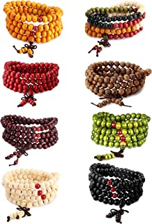 LOYALLOOK Wood Bracelet 108 Mala Bead Bracelets Wood Prayer Beads Sandalwood Link Wrist Necklace Chain for Men Women Chinese Knot 8pcs