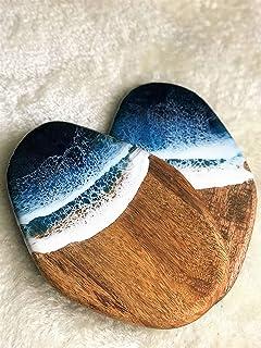 Tabla de cortar decorada con resina temática oceánica - 28 cm
