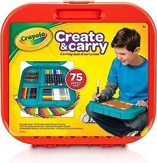 Crayola 繪兒樂 create &carry 75件 兒童藝術套裝 適合于5歲及以上兒童,二合一便攜式書桌&攜帶盒 On-The-Go 兒童藝術家,包括標記筆,蠟筆,彩色鉛筆和紙,樣式可能會變化