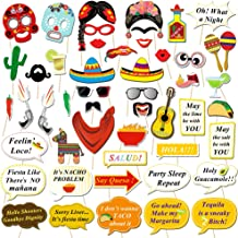 Konsait Mexican Fiesta Photo Booth Props, Funny Photo Booth Selfie Props for Mexican Birthday Wedding Bachelorette Fiesta Themed Party Favors Supplies Decorations (50 Count)