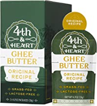 Original Grass-Fed Ghee Butter by 4th & Heart, On-the-Go Single Serving 5-Count, Pasture Raised, Non-GMO, Lactose Free, Certified Paleo and Keto