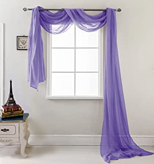 RT Designers Collection Celine Sheer 55 x 216 in. Sheer Curtain Scarf, Neon Purple