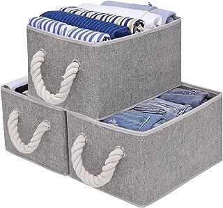 StorageWorks Closet Storage Bins with Cotton Rope Handles, Decorative Storage Baskets, Rectangle, Gray, 3-Pack, Medium