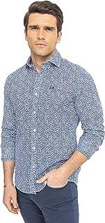 – Camisa Fiori Marino Flores Blanca Azul Regular Fit, Algodón, Estilo Elegante y Atrevido para Hombres,