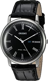 Orient Men's 'Capital Version 2' Quartz Stainless Steel and Leather Dress Watch, Color:Black (Model: FUG1R008B9)