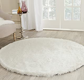 Safavieh Paris Shag Collection SG511-1212 Ivory Polyester Round Area Rug (7' Diameter)