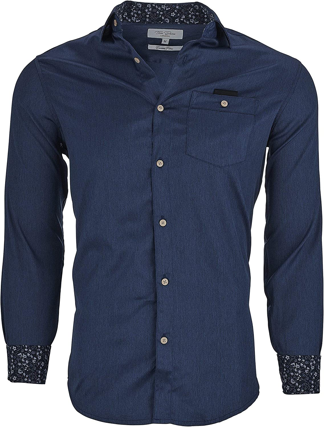 Suslo Couture Tom Baine Men's Slim Fit Non-Iron Stretch Solid Long Sleeve