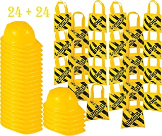 Bulk Birthday Construction Party Favor Set 24 Yellow Hats 24 Small Tote Bags for Kids, 4E's Novelty
