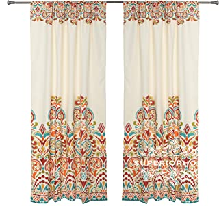 Set of 2 Rod Pocket Brocade Print Curtains, Beige Red Orange Blue Green Window Curtain 52