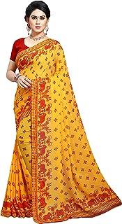 Kashvi sarees Women's Faux Georgette Saree With Unstitched Blouse Piece