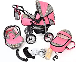 Kamil, Classic 3-in-1 Travel System with 4 STATIC (FIXED) WHEELS incl. Baby Pram, Car Seat, Pushchair & Accessories (3-in-1 Travel System, Pink & Leopard)