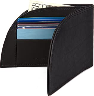Front Pocket Wallet by Rogue Industries - Genuine American Bison Leather with RFID Block, Holds 6 Cards - Black