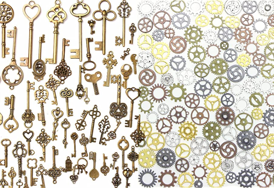 Buytra 137 Pack Antique Bronze Vintage Skeleton Keys Steampunk Gears Cogs Charms Pendant Clock Watch Wheel for Jewelry Making Supplies, Steampunk Accessories, Craft Projects