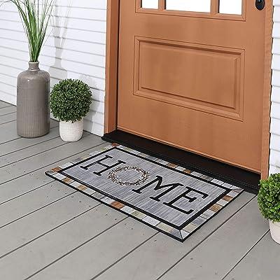 "Mohawk Home 4932 18507 018030 EC Homestead Wreath Tin Doormat, 1'6 x 2'6"", Grey"