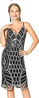 Metme Women's 1920s Deep V Neck Sexy Adjustable Straps Gatsby Party Dress Vintage Sequin for Evening Prom