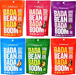 ENLIGHTENED BROAD BEAN (FAVA BEANS) CRISPS 6-3 oz BAGS (6-3oz VAR SS, GARLIC, SRIRACHA,BBQ, COCOA, CINN)