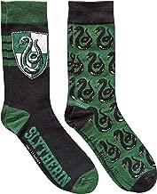 Harry Potter Slytherin House Crest Pattern Men's Crew Socks 2 Pair Pack Shoe Size 6-12