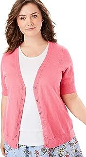 Women's Plus Size Short Sleeve V-Neck Cardigan