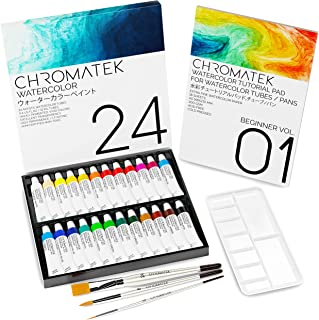 Watercolor Paint Set with Video Tutorial Series, 24 x Vivid Colors, Professional 300gsm Tutorial Pad, 3 Professional Brush...