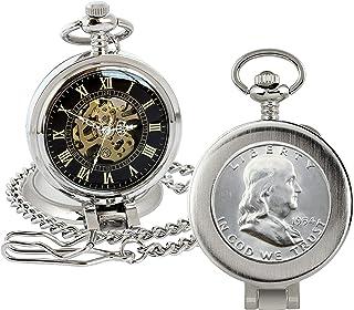 ساعت جیبی سکه با حرکت کوارتز اسکلت | نیم دلار فرانکلین نقره | سکه اصلی آمریکا | جاروبرقی دست دوم ، ذره بین | کیس Silvertone | گواهی اصالت