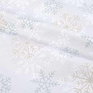 Windham 108'' Quilt Back Snowflakes Light Grey Quilt Fabric