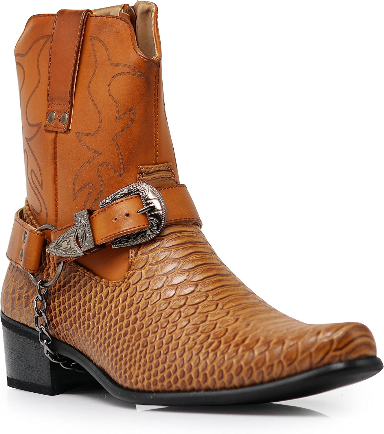 Alberto Fellini Men's Crocodile Prints Western Boots with Side Zipper, Belt Buckle and Metal Chain (Brown, 7.5)