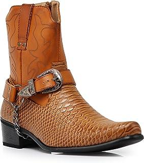 fd7da5783 Alberto Fellini Men s Crocodile Prints Western Cowboy Boots with Side  Zipper