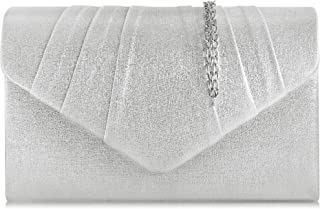 Milisente Clutch Damen, Elegante Clutch Umschlag Crossbody Klassisch Clutch Tasche Abendtasche (pu Leder Silber)