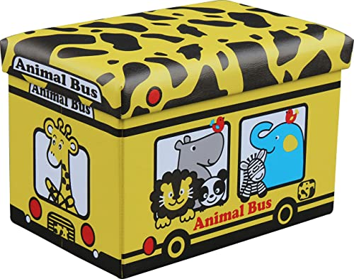 Kids Animal Bus Collapsible/Folding Storage Ottoman and Toy Chest by SkyMall
