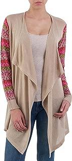 Long Sleeve Cotton Blend Cardigan Sweater, Garden in Pale Beige'