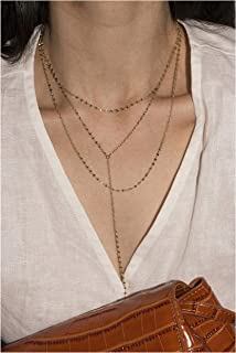 Layered Necklace 14K Gold Plated Choker (Coffee Gold) Y Chain Sequins Christmas Long Chain Pendant Sweater Necklaces for Women