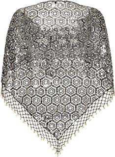 Women's Beaded Sequin Shawl, Evening Wrap or Bridal Wedding Dress Cape
