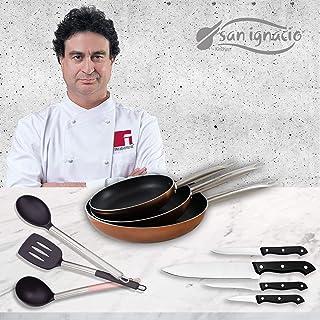 San Ignacio Professional Chef Copper Set 3 sartenes + 4 Cuchillos + 3 Utensilios, Aluminio