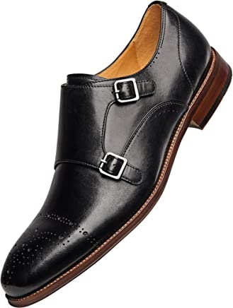 bf58f807504a COMOTEK Men s Classic Double Monk Strap Full Grain Leather Shoes