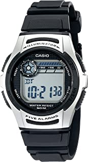 Men's W213-1AVCF Basic Black and Silver Digital Watch