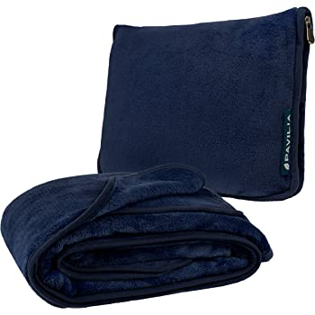 PAVILIA Travel Blanket and Pillow | Warm Soft Fleece 2-in-1 Combo Blanket for Airplane, Camping, Car Trips | Large Compact Blanket Set with Luggage Strap & Backpack Clip, 60 x 43 (Navy Blue)