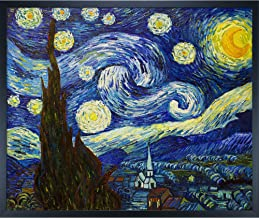 overstockArt Van Gogh Starry Night Painting with Studio Black Wood Frame