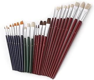 HomEdge - Juego de 25 pinceles acrílicos para pintar con cabezal redondo y plano para acuarela, acrílico, lienzo, uñas, apto para artistas, niños, aula, etc.