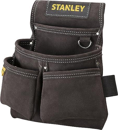 Stanley Stst1-80116 Porte-Outils En Cuir Qualité Supérieure - 4 Poches - Accroche Spéciale Mètre - Renforts Par Rivet...