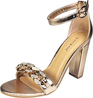 d18db4bcebbe1 BAMBOO Women s Chain Ornament Single Band Chunky Heel Sandal with Ankle  Strap
