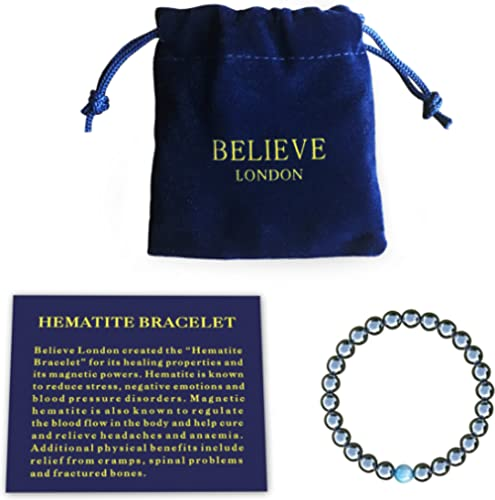 Believe London Hematite Magnetic Therapy Bracelet with Jewelry Bag & Meaning Card | Strong Elastic | Precious Natural...