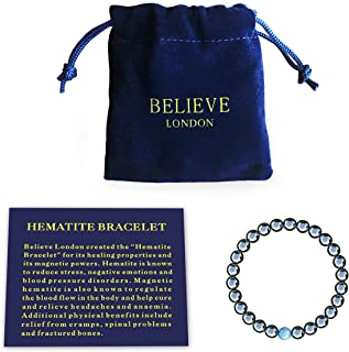 Believe London Hematite Magnetic Therapy Bracelet with Jewelry Bag & Meaning Card   Strong Elastic   Precious Natural Ston...
