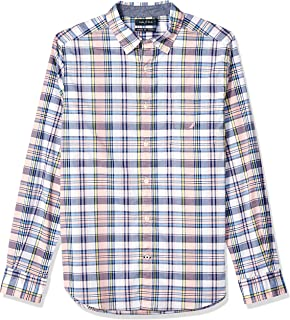 Men's Long Sleeve Stretch Casual Plaid Button Down Shirt