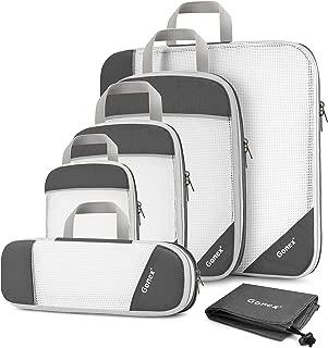 Compression Packing Cubes, Gonex Extensible Storage Mesh Bags Organizers - (L+M+S+XS+Slim+Laundry Bag) Gray - L+M+S+XS+Slim+Laundry Bag