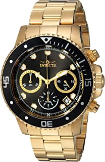Invicta Men's Pro Diver Analog-Quartz Diving Watch with Stainless-Steel Strap, Gold, 9 (Model: 21893)