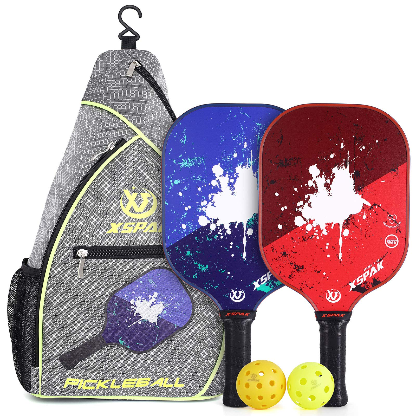 XS XSPAK Pickleball Paddles Set of 2 with Sling Bag Carbn Fi